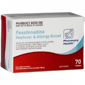 Fexofenadine 108mg Hayfever and Allergy Relief X 70 (Generic For TELFAST)