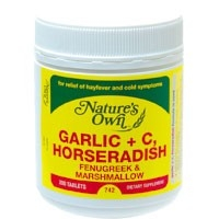 Nature's Own Garlic + C, Horseradish 200 Tabs